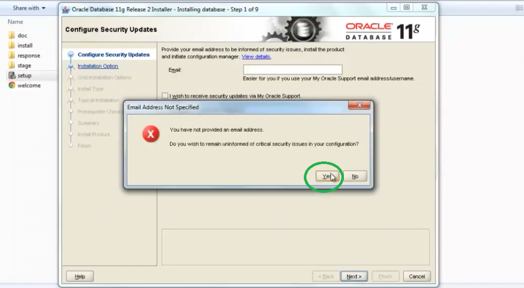 oracle database install