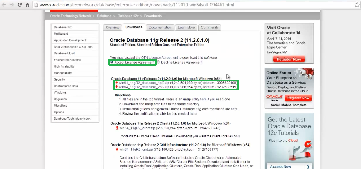 oracle install for windows 7