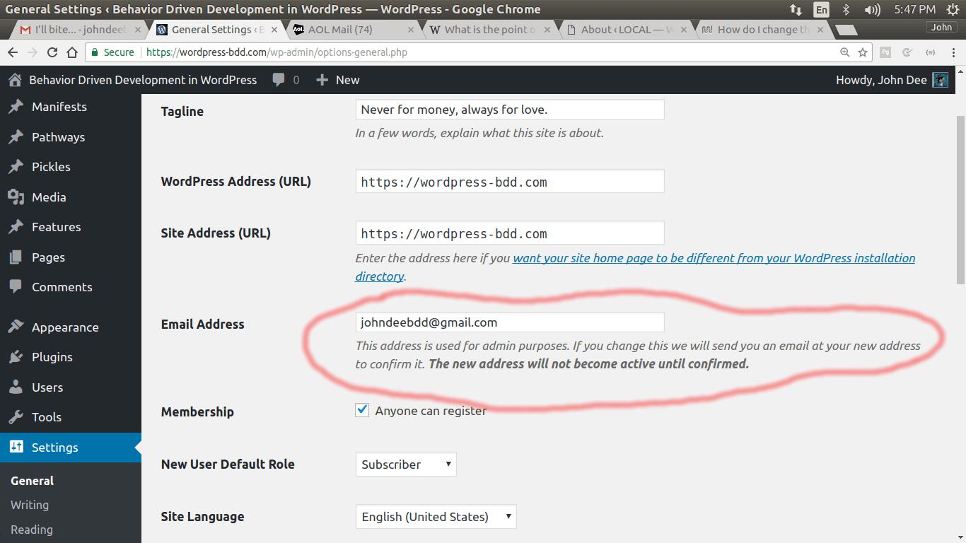 wordpress admin email